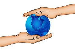 Mains et globe 5 du monde Images stock