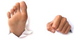Mains et pieds au-dessus de papier sur les milieux blancs Image libre de droits