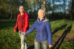 Mains et promenade heureuses de prise de couples d'aînés ; Image stock