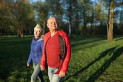 Mains et promenade heureuses de prise de couples d'aînés ; Photo libre de droits