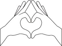 Mains et symbole de coeur illustration libre de droits