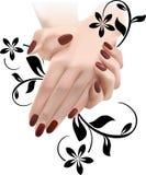 Mains femelles élégantes en ornement floral Images stock