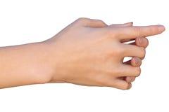 Mains femelles avec les doigts enclenchés - vue de côté droit Image libre de droits