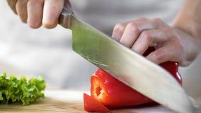Mains femelles coupant en tranches le poivron rouge par le couteau de cuisine pointu pendant l'exposition culinaire photo libre de droits