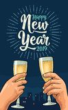 Mains femelles et masculines se tenant et tintant avec deux verres de champagne illustration libre de droits