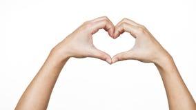 Mains femelles formant un coeur Images libres de droits