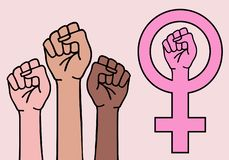 Mains femelles, signe féministe, symbole du féminisme, vecteur illustration libre de droits