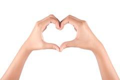 Mains femelles sous forme de coeur Photo libre de droits