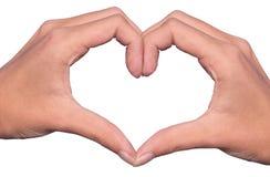 Mains formant un coeur d'isolement sur le fond blanc, concept d'amour Image stock