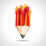 Mains heureuses avec le crayon   Image libre de droits