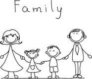 Mains heureuses de fixation de famille, vecteur Images libres de droits