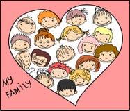 Mains heureuses de fixation de famille, vecteur Image libre de droits