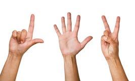 Mains humaines sur un fond blanc photo libre de droits