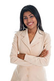 Mains indiennes attrayantes de femme d'affaires pliées Photographie stock