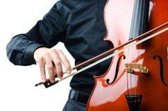 Mains jouant le violoncelle photo stock