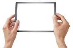 Mains jugeant la Tablette d'isolement images stock
