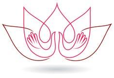 Mains lotus et image abstraite de vecteur d'oiseaux photos stock