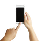 Mains masculines d'isolement tenant le téléphone Photo stock