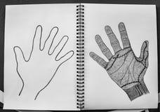 Mains mauvaises, avant-main tirée par la main et suture enroulée sur le fond de livre blanc, concept de Halloween photographie stock libre de droits