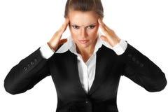 Mains modernes chargées de fixation de femme d'affaires au te Images libres de droits