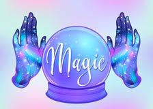 Mains ouvertes magiques de Crystal Ball et de femelle avec la galaxie à l'intérieur Cre illustration libre de droits