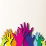 Mains paited colorées Photo stock