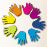 Mains paited colorées Image libre de droits