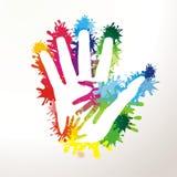 Mains paited colorées Photos libres de droits