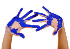 Mains peintes avec le chemin de découpage Photos libres de droits