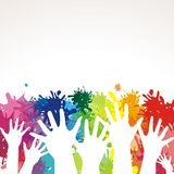 Mains peintes colorées Photographie stock