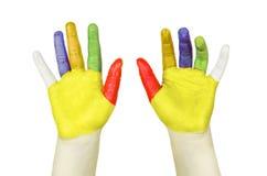Mains peintes colorées d'isolement Photo libre de droits