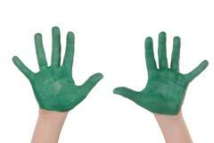 Mains peintes par enfants Images libres de droits