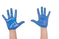 Mains peintes par enfants Photographie stock