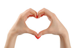 Mains Porte des fruits le coeur de la plaque Photos libres de droits