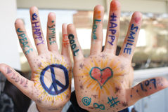 Mains positives Photo libre de droits