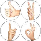 Mains : Pouces vers le haut, NORMALEMENT, paix, attention Photos libres de droits