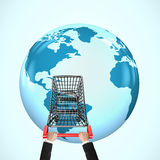 Mains poussant le caddie sur le globe 3D avec la carte du monde Photo stock