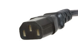 Mains power connector. An IEC style mains or supply power connector on a cable royalty free stock images