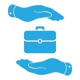 Mains protégeant l'icône de cas de portfolio Photo libre de droits
