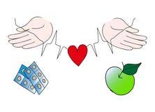 Mains protégeant le coeur rouge, choix sain de la vie Photos libres de droits