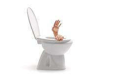 Mains résultant d'une cuvette des toilettes Photos libres de droits