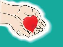 Mains retenant le coeur Images libres de droits