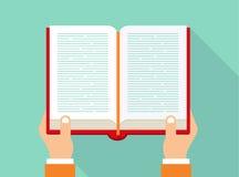Mains retenant le livre concept de livre de lecture Icône de livre dans le style plat Photographie stock