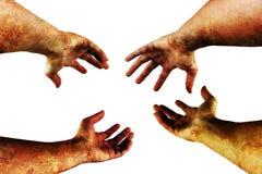 Mains sales sur le blanc Photo libre de droits