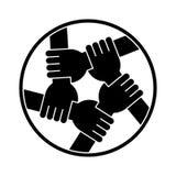 Mains se tenant pour la silhouette de solidarité photographie stock libre de droits