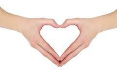 Mains sous forme de coeur Images libres de droits