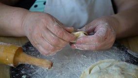 Mains supérieures de femme faisant des boulettes avec le plan rapproché rôti de chou clips vidéos