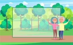 Mains supérieures de vague de couples de grand-parent heureux en parc Images stock