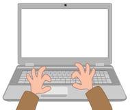 Mains sur l'ordinateur portatif Image libre de droits