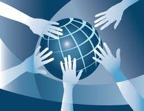 Mains sur terre Photos libres de droits